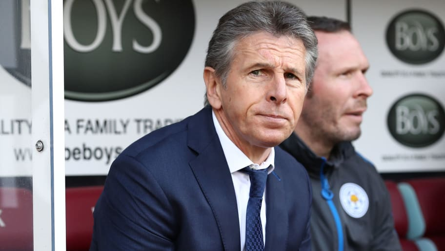 BURNLEY, ENGLAND - APRIL 14:  Claude Puel, Manager of Leicester City looks on prior to the Premier League match between Burnley and Leicester City at Turf Moor on April 14, 2018 in Burnley, England.  (Photo by Matthew Lewis/Getty Images)