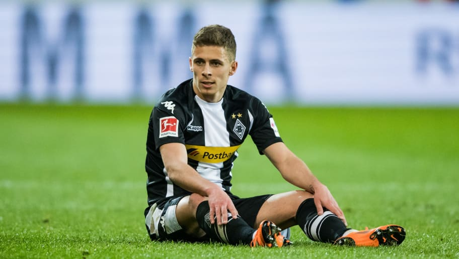 MAINZ, GERMANY - APRIL 01: Thorgan Hazard of Moenchengladbach reacts during the Bundesliga match between 1. FSV Mainz 05 and Borussia Moenchengladbach at Opel Arena on April 1, 2018 in Mainz, Germany. (Photo by Simon Hofmann/Bongarts/Getty Images)