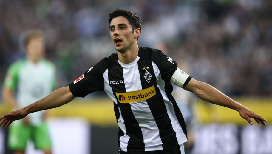 MOENCHENGLADBACH, GERMANY - APRIL 20: Lars Stindl of Moenchengladbach celebrates after scoring his teams first goal to make it 1-0 during the Bundesliga match between Borussia Moenchengladbach and VfL Wolfsburg at Borussia-Park on April 20, 2018 in Moenchengladbach, Germany. (Photo by Maja Hitij/Bongarts/Getty Images)