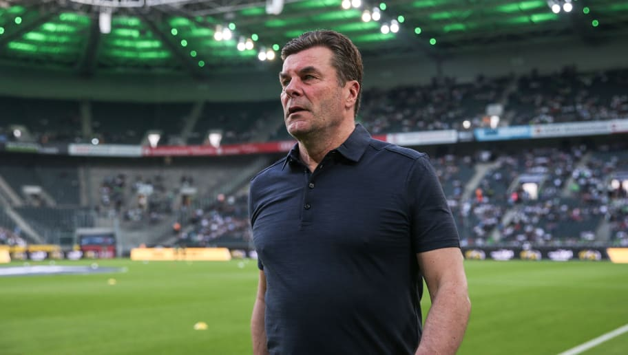 MOENCHENGLADBACH, GERMANY - APRIL 20: Head Coach Dieter Hecking of Moenchengladbach arrives prior the Bundesliga match between Borussia Moenchengladbach and VfL Wolfsburg at Borussia-Park on April 20, 2018 in Moenchengladbach, Germany. (Photo by Maja Hitij/Bongarts/Getty Images)