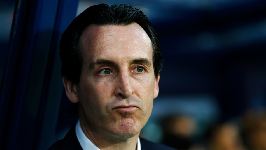 Paris Saint-Germain's Spanish headcoach Unai Emery is pictured before the French cup semi-final match between Caen (SMC) and Paris Saint-Germain (PSG) on April 18, 2018 at the Michel-d'Ornano stadium in Caen, northwestern France. / AFP PHOTO / CHARLY TRIBALLEAU        (Photo credit should read CHARLY TRIBALLEAU/AFP/Getty Images)