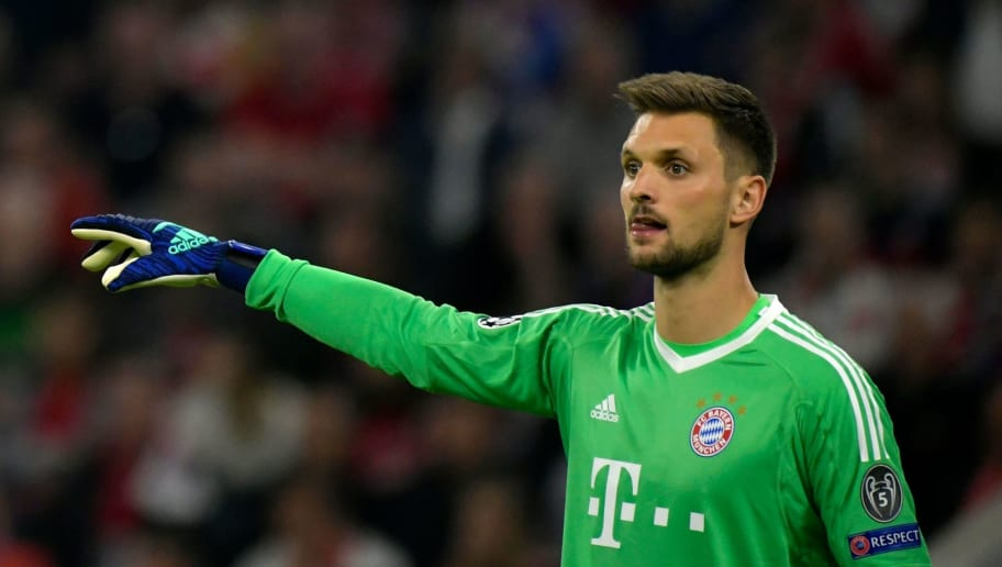 Bayern Munich's German goalkeeper Sven Ulreich gestures during the UEFA Champions League semi-final first-leg football match FC Bayern Munich v Real Madrid CF in Munich, southern Germany on April 25, 2018. (Photo by GUENTER SCHIFFMANN / AFP)        (Photo credit should read GUENTER SCHIFFMANN/AFP/Getty Images)