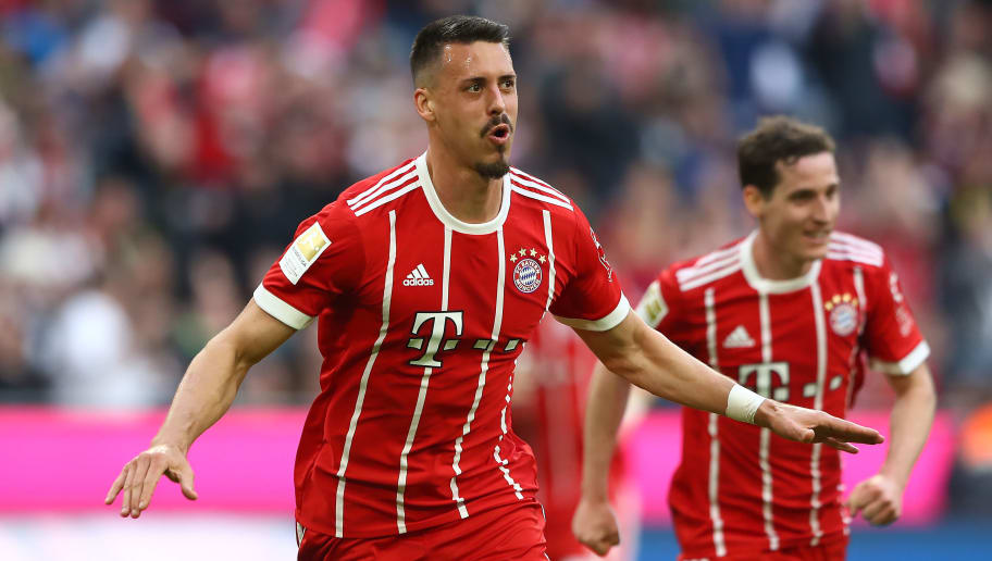 MUNICH, GERMANY - APRIL 14: Sandro Wagner of Muenchen celebrates after he scored a goal to make it 2:1 during the Bundesliga match between FC Bayern Muenchen and Borussia Moenchengladbach at Allianz Arena on April 14, 2018 in Munich, Germany. (Photo by Martin Rose/Bongarts/Getty Images)