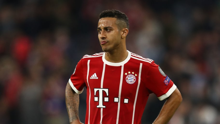 MUNICH, GERMANY - APRIL 25: Thiago Alcantara #6 of Bayern Munich reacts following the UEFA Champions League Semi Final First Leg match between Bayern Muenchen and Real Madrid at the Allianz Arena on April 25, 2018 in Munich, Germany. (Photo by Maja Hitij/Bongarts/Getty Images)