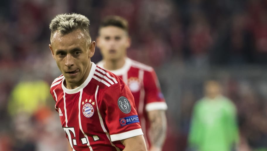 Bayern Munich's Brazilian defender Rafinha plays the ball during the UEFA Champions League semi-final first-leg football match FC Bayern Munich v Real Madrid CF in Munich, southern Germany on April 25, 2018. (Photo by ODD ANDERSEN / AFP)        (Photo credit should read ODD ANDERSEN/AFP/Getty Images)