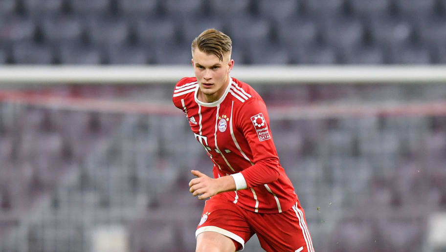 MUNICH, GERMANY - JANUARY 09: Lars Lukas Mai of Bayern Muenchen plays the ball during the friendly match between Bayern Muenchen and SG Sonnenhof Grossaspach at Allianz Arena on January 9, 2018 in Munich, Germany. (Photo by Sebastian Widmann/Bongarts/Getty Images)