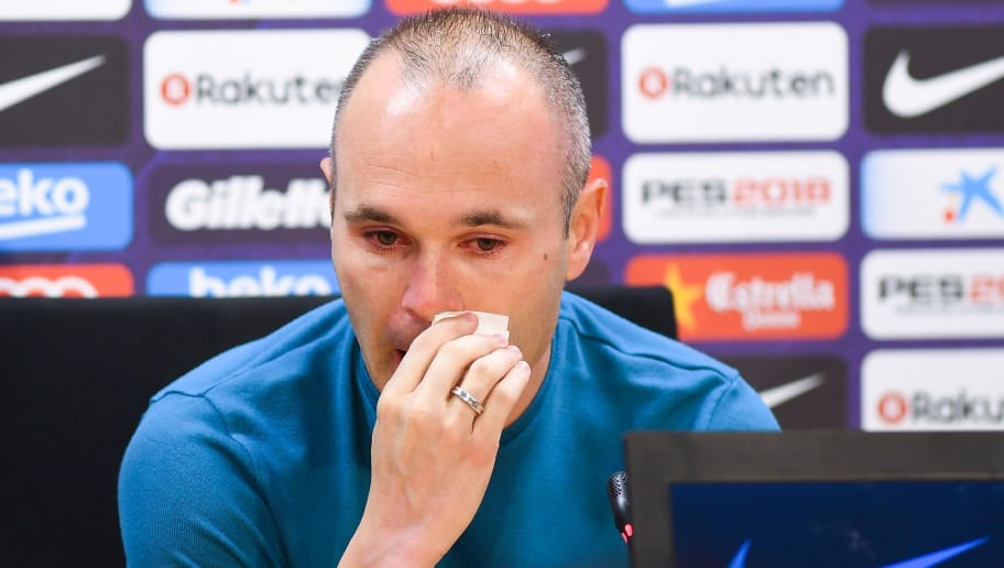 BARCELONA, SPAIN - APRIL 27:  Andres Iniesta of FC Barcelona faces the media during a press conference at the Ciutat Deportiva Joan Gamper on April 27, 2018 in Barcelona, Spain. At the end of this season Andres Iniesta will leave the Catalan Club.  (Photo by David Ramos/Getty Images)