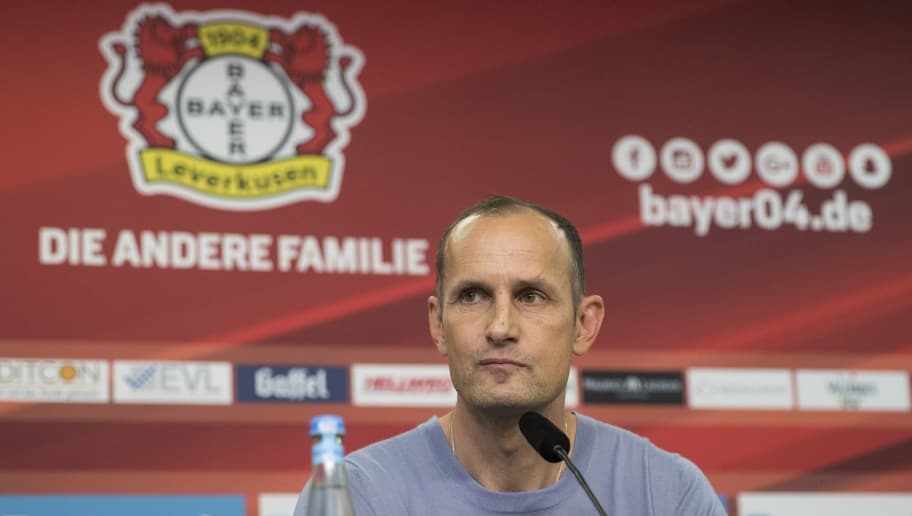 LEVERKUSEN, GERMANY - JUNE 09: The newly appointed head coach of Bayer Leverkusen Heiko Herrlich  speaks during a press conference at BayArena on June 9, 2017 in Leverkusen, Germany. (Photo by Maja Hitij/Bongarts/Getty Images)