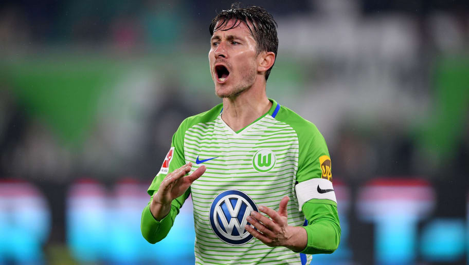 WOLFSBURG, GERMANY - APRIL 13: Paul Verhaegh of Wolfsburg reacts during the Bundesliga match between VfL Wolfsburg and FC Augsburg at Volkswagen Arena on April 13, 2018 in Wolfsburg, Germany.  (Photo by Stuart Franklin/Bongarts/Getty Images)