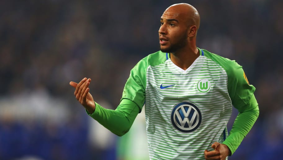 GELSENKIRCHEN, GERMANY - OCTOBER 28:  John Brooks of Wolfsburg in action during the Bundesliga match between FC Schalke 04 and VfL Wolfsburg at Veltins-Arena on October 28, 2017 in Gelsenkirchen, Germany.  (Photo by Dean Mouhtaropoulos/Bongarts/Getty Images)