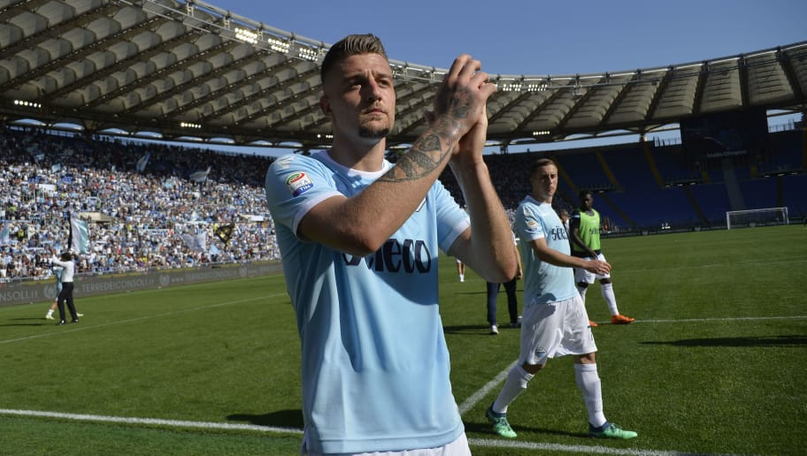 ROME, ROME - APRIL 22:  Sergej Milinkovic Savic of SS Lazio celebrates a winner game after the serie A match between SS Lazio and UC Sampdoria at Stadio Olimpico on April 22, 2018 in Rome, Italy.  (Photo by Marco Rosi/Getty Images)