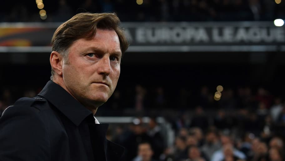 MARSEILLE, FRANCE - APRIL 12:  RB Leipzig head coach Ralph Hasenhuttl looks on during the UEFA Europa League quarter final leg two match between Olympique Marseille and RB Leipzig at Stade Velodrome on April 12, 2018 in Marseille, France.  (Photo by Valerio Pennicino/Bongarts/Getty Images)