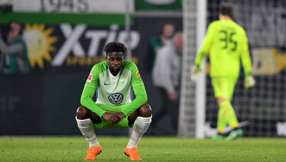 WOLFSBURG, GERMANY - APRIL 13: Divock Origi of Wolfsburg looks dejected after the Bundesliga match between VfL Wolfsburg and FC Augsburg at Volkswagen Arena on April 13, 2018 in Wolfsburg, Germany.  (Photo by Stuart Franklin/Bongarts/Getty Images)