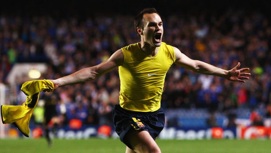 LONDON, ENGLAND - MAY 06:  Andres Iniesta of Barcelona celebrates scoring in the final minutes during the UEFA Champions League Semi Final Second Leg match between Chelsea and Barcelona at Stamford Bridge on May 6, 2009 in London, England.  (Photo by Jamie McDonald/Getty Images)