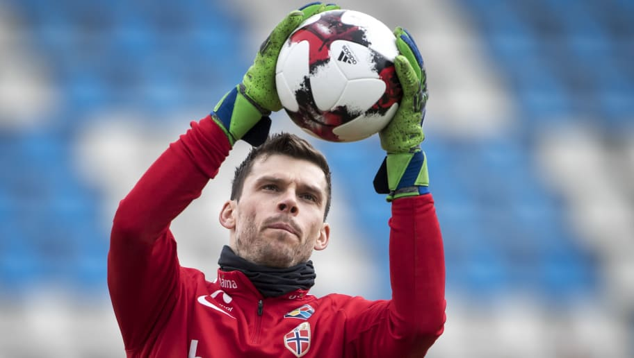 TIRANA, ALBANIA - MARCH 25: Rune Jarstein of Norway during training ahead of their match against Albania on March 25, 2018 in Tirana, Albania. (Photo by Trond Tandberg/Getty Images)