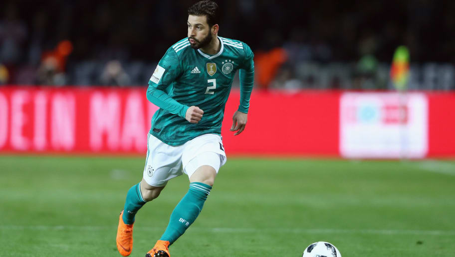 BERLIN, GERMANY - MARCH 27:  Marvin Plattenhardt of Germany controls the ball during the international friendly match between Germany and Brazil at Olympiastadion on March 27, 2018 in Berlin, Germany.  (Photo by Alex Grimm/Bongarts/Getty Images)