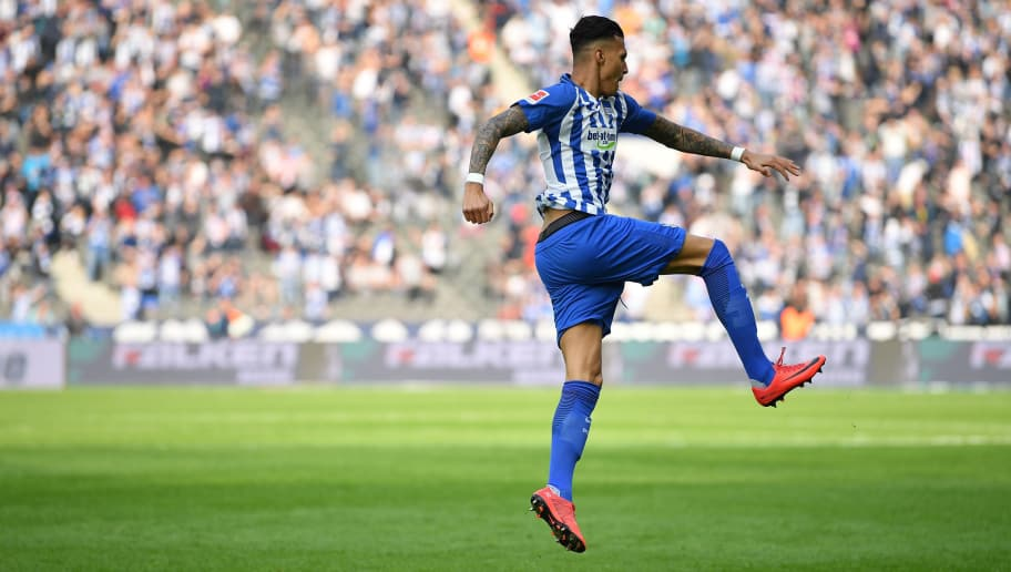 BERLIN, GERMANY - APRIL 14:  Davie Selke of Berlin celebrates during the Bundesliga match between Hertha BSC and 1. FC Koeln at Olympiastadion on April 14, 2018 in Berlin, Germany.  (Photo by Stuart Franklin/Bongarts/Getty Images)