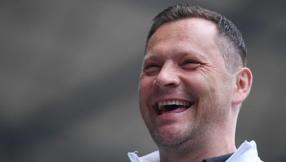 BERLIN, GERMANY - APRIL 14: Pal Dardai, coach of Berlin, smiles and looks on before the Bundesliga match between Hertha BSC and 1. FC Koeln at Olympiastadion on April 14, 2018 in Berlin, Germany. (Photo by Stuart Franklin/Bongarts/Getty Images)