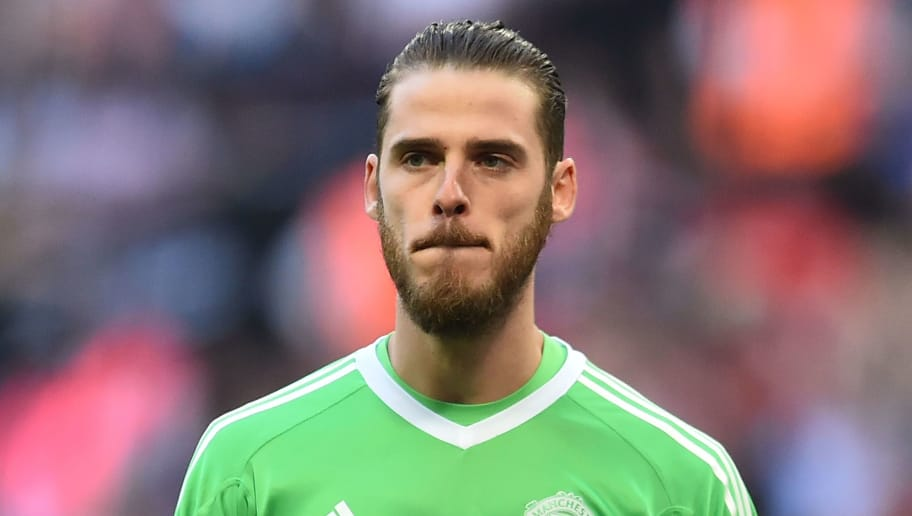 de Manchester United's Spanish goalkeeper David de Gea looks on during the English FA Cup semi-final football match between Tottenham Hotspur and Manchester United at Wembley Stadium in London, on April 21, 2018. (Photo by Glyn KIRK / AFP) / NOT FOR MARKETING OR ADVERTISING USE / RESTRICTED TO EDITORIAL USE        (Photo credit should read GLYN KIRK/AFP/Getty Images)