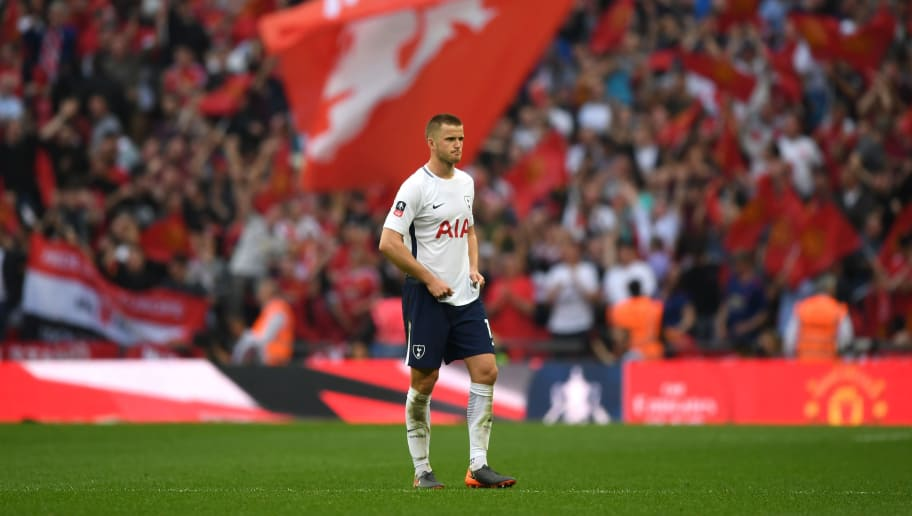 LONDON, ENGLAND - APRIL 21:  Eric Dier of Tottenham Hotspur looks dejected after The Emirates FA Cup Semi Final match between Manchester United and Tottenham Hotspur at Wembley Stadium on April 21, 2018 in London, England.  (Photo by Shaun Botterill/Getty Images)