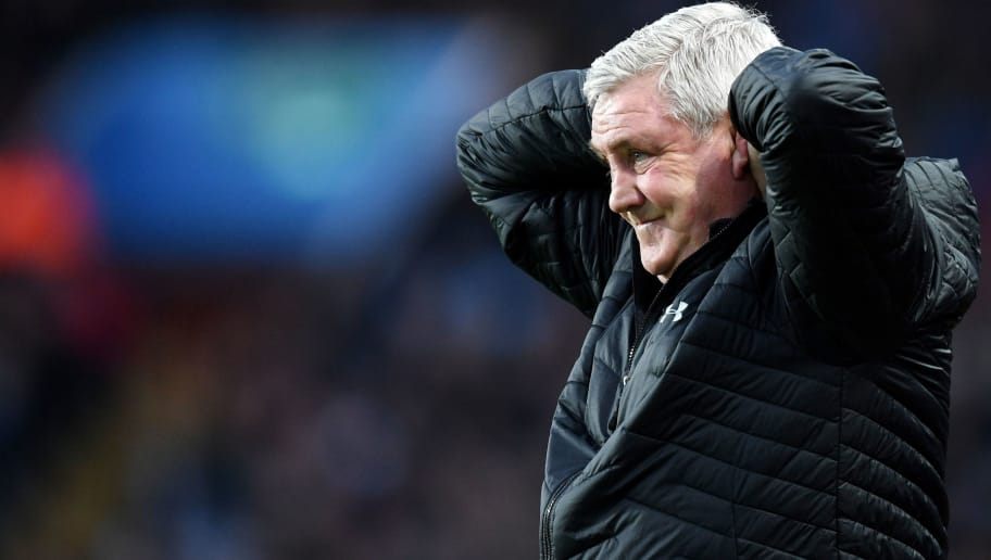 BIRMINGHAM, ENGLAND - APRIL 03:  Steve Bruce, Manager of Aston Villa reacts during the Sky Bet Championship match between Aston Villa and Reading at Villa Park on April 3, 2018 in Birmingham, England.  (Photo by Michael Regan/Getty Images)
