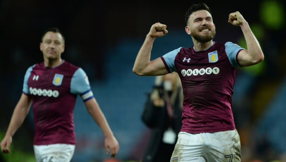 BIRMINGHAM, ENGLAND - MARCH 10: Robert Snodgrass of Aston VIlla celebrates during the Sky Bet Championship match between Aston Villa and Wolverhampton Wanderers at Villa Park on March 10, 2018 in Birmingham, England. (Photo by Nathan Stirk/Getty Images,)