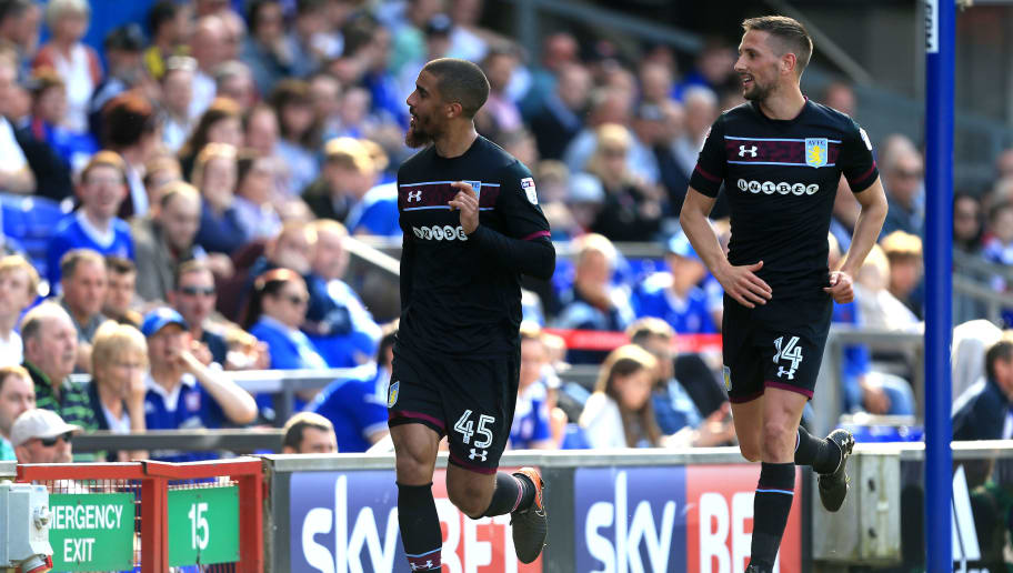 IPSWICH, ENGLAND - APRIL 21:  Lewis Grabban of Aston Villa celebrates scoring the second goal of the game with team mate Conor Hourihane during the Sky Bet Championship match between Ipswich Town and Aston Villa at Portman Road on April 21, 2018 in Ipswich, England. (Photo by Stephen Pond/Getty Images)