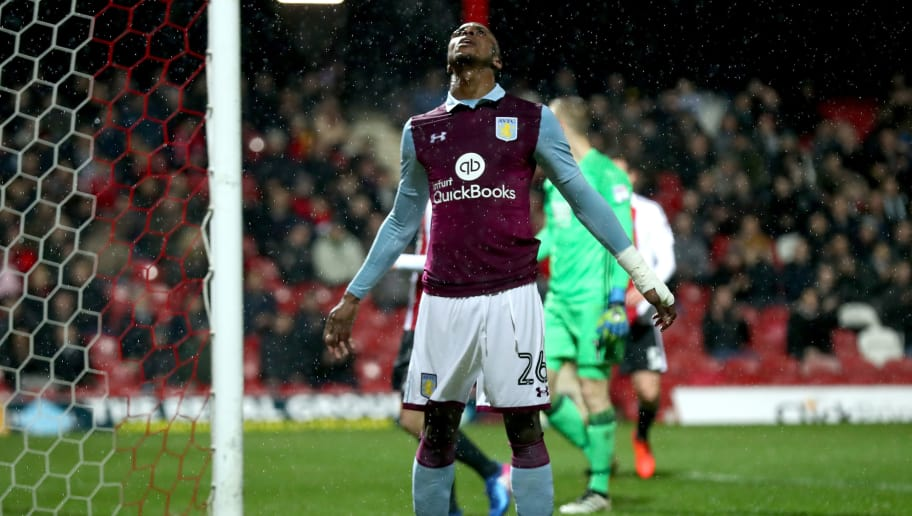 BRENTFORD, ENGLAND - JANUARY 31: Jonathan Kodjia of Aston Villa reacts after a missed goal chance during the Sky Bet Championship match between Brentford and Aston Villa at Griffin Park on January 31, 2017 in Brentford, England.  (Photo by Clive Rose/Getty Images)