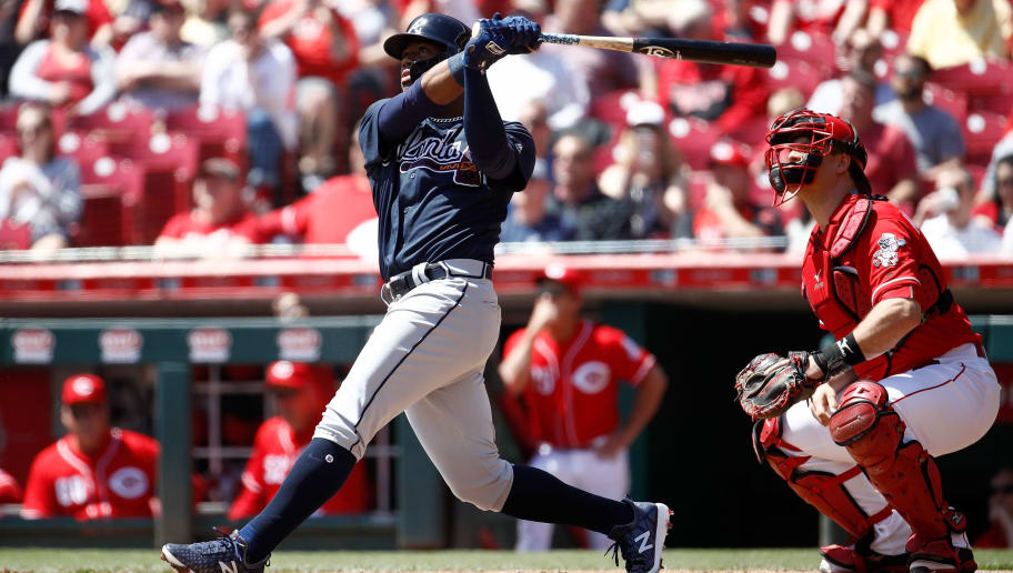 CINCINNATI, OH - APRIL 26:  Ronald Acuna Jr. #13 of the Atlanta Braves hits his first MLB home run in the second inning against the Cincinnati Reds at Great American Ball Park on April 26, 2018 in Cincinnati, Ohio.  (Photo by Andy Lyons/Getty Images)