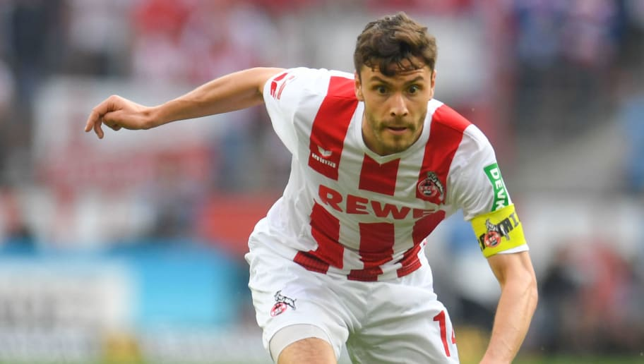 Cologne's German defender Jonas Hector plays the ball during the German first division Bundesliga football match FC Cologne vs Schalke 04, in Cologne, western Germany, on April 22, 2018. (Photo by Patrik STOLLARZ / AFP) / RESTRICTIONS: DURING MATCH TIME: DFL RULES TO LIMIT THE ONLINE USAGE TO 15 PICTURES PER MATCH AND FORBID IMAGE SEQUENCES TO SIMULATE VIDEO. == RESTRICTED TO EDITORIAL USE == FOR FURTHER QUERIES PLEASE CONTACT DFL DIRECTLY AT + 49 69 650050        (Photo credit should read PATRIK STOLLARZ/AFP/Getty Images)
