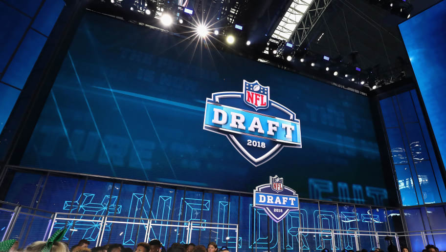 ARLINGTON, TX - APRIL 26:  The 2018 NFL Draft logo is seen on a video board during the first round of the 2018 NFL Draft at AT&T Stadium on April 26, 2018 in Arlington, Texas.  (Photo by Ronald Martinez/Getty Images)