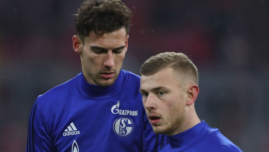 MUNICH, GERMANY - FEBRUARY 10: Leon Goretzka (back) and Max Meyer of Schalke warm up prior to the Bundesliga match between FC Bayern Muenchen and FC Schalke 04 at Allianz Arena on February 10, 2018 in Munich, Germany.  (Photo by Alex Grimm/Bongarts/Getty Images)