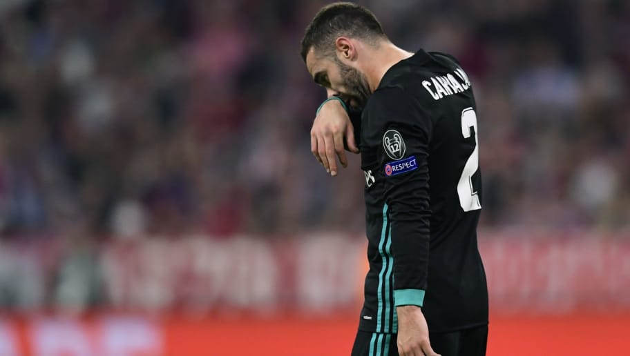 Real Madrid's Spanish defender Dani Carvajal leaves the field during the UEFA Champions League semi-final first-leg football match FC Bayern Munich v Real Madrid CF in Munich, southern Germany on April 25, 2018. (Photo by JAVIER SORIANO / AFP)        (Photo credit should read JAVIER SORIANO/AFP/Getty Images)
