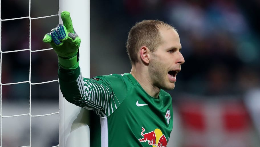 LEIPZIG, GERMANY - APRIL 05: Goalkeeper Peter Gulacsi of RB Leipzig gestures during the UEFA Europa League quarter final leg one match between RB Leipzig and Olympique Marseille at the Red Bull Arena on April 5, 2018 in Leipzig, Germany. (Photo by Ronny Hartmann/Bongarts/Getty Images)