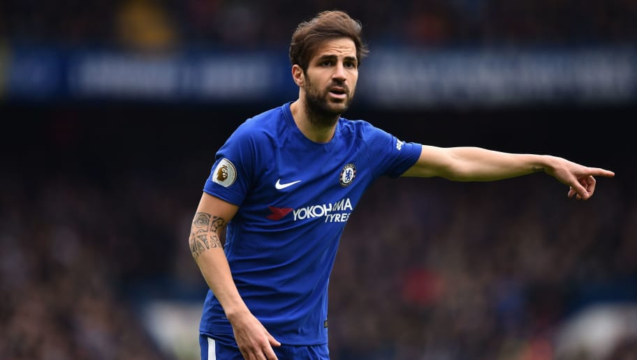 Chelsea's Spanish midfielder Cesc Fabregas gestures during the English Premier League football match between Chelsea and Tottenham Hotspur at Stamford Bridge in London on April 1, 2018. / AFP PHOTO / Glyn KIRK / RESTRICTED TO EDITORIAL USE. No use with unauthorized audio, video, data, fixture lists, club/league logos or 'live' services. Online in-match use limited to 75 images, no video emulation. No use in betting, games or single club/league/player publications.  /         (Photo credit should read GLYN KIRK/AFP/Getty Images)