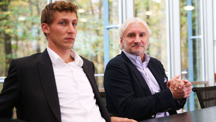 FRANKFURT AM MAIN, GERMANY - OCTOBER 28:  Manager Rudi Voeller (R) and Stefan Kiessling (L) of Leverkusen attend the DFB Federal Court proceeding at DFB headquarters on October 28, 2013 in Frankfurt am Main, Germany. The hearing will consider an application by TSG Hoffenheim for their recent Bundesliga match against Bayer Leverkusen to be replayed, after they were defeated by a 'ghost goal' scored through a hole in the side netting by Stefan Kiessling.  (Photo by Simon Hofmann/Bongarts/Getty Images)