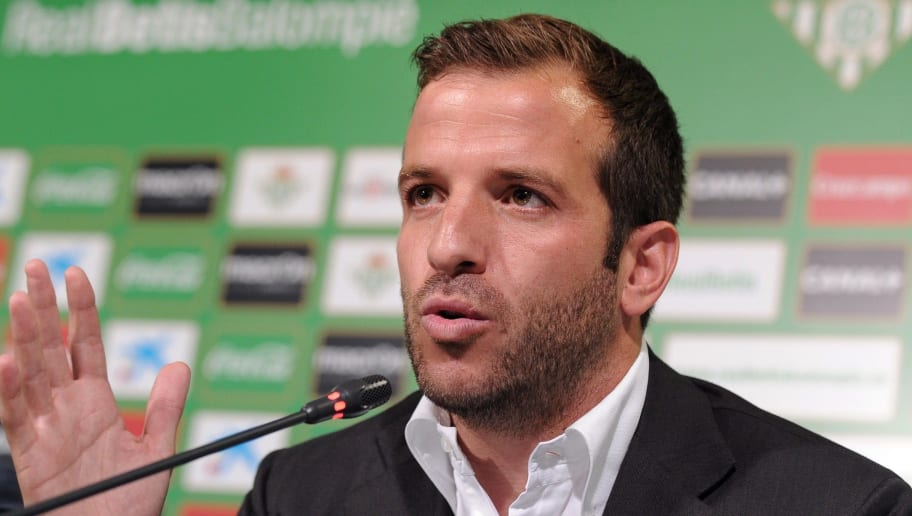 Betis's new signing international Dutch Rafael Van der Vaart speaks during his presentation press conference, at the Benito Villamarin stadium in Sevilla on June 16, 2015. The Dutch midfielder Rafael van der Vaart, once at Real Madrid, has signed on for three seasons at Real Betis from Hamburg, the Andalusian club announced yesterday.  AFP PHOTO / CRISTINA QUICLER        (Photo credit should read CRISTINA QUICLER/AFP/Getty Images)