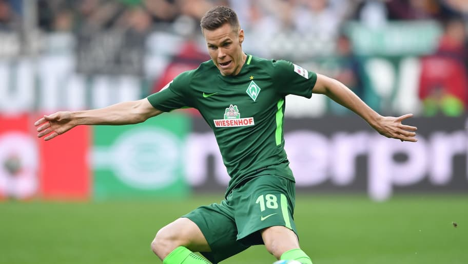 BREMEN, GERMANY - APRIL 15:  Niklas Moisander  of Bremen in action during the Bundesliga match between SV Werder Bremen and RB Leipzig at Weserstadion on April 15, 2018 in Bremen, Germany.  (Photo by Stuart Franklin/Bongarts/Getty Images)