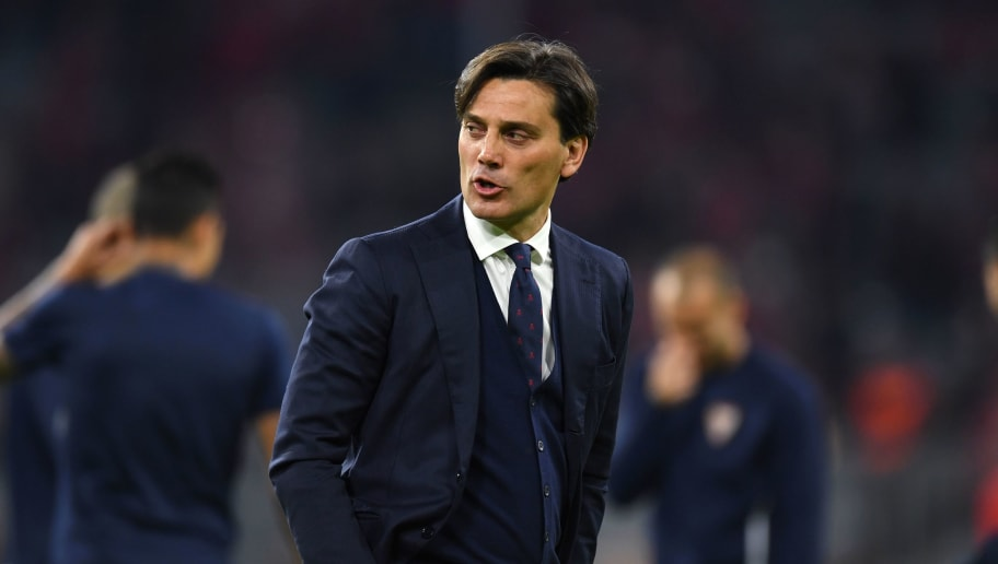 Sevilla's Italian coach Vincenzo Montella attends his team's warm-up prior to the UEFA Champions League quarter-final second leg football match between FC Bayern Munich and Sevilla FC on April 11, 2018 in Munich, southern Germany. Bayern Munich marched into another Champions League semi-final despite 10-man Sevilla holding them to a goalless draw at home. / AFP PHOTO / Christof STACHE        (Photo credit should read CHRISTOF STACHE/AFP/Getty Images)