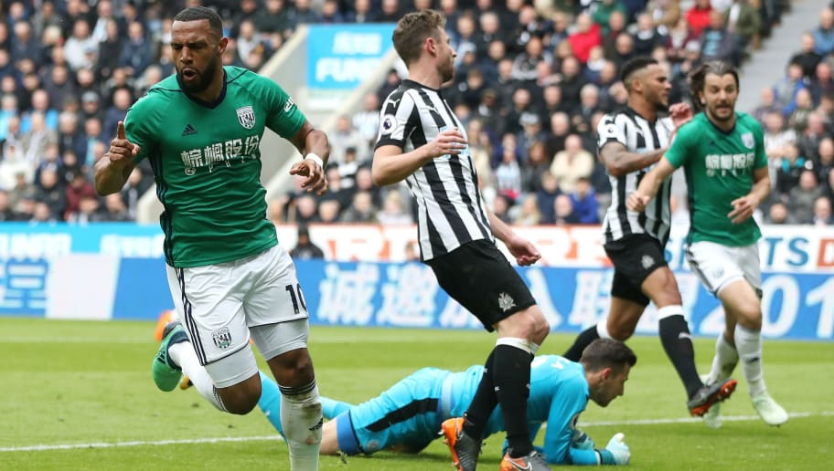 NEWCASTLE UPON TYNE, ENGLAND - APRIL 28:  Matt Phillips of West Bromwich Albion celebrates after scoring his sides first goal during the Premier League match between Newcastle United and West Bromwich Albion at St. James Park on April 28, 2018 in Newcastle upon Tyne, England.  (Photo by Ian MacNicol/Getty Images)