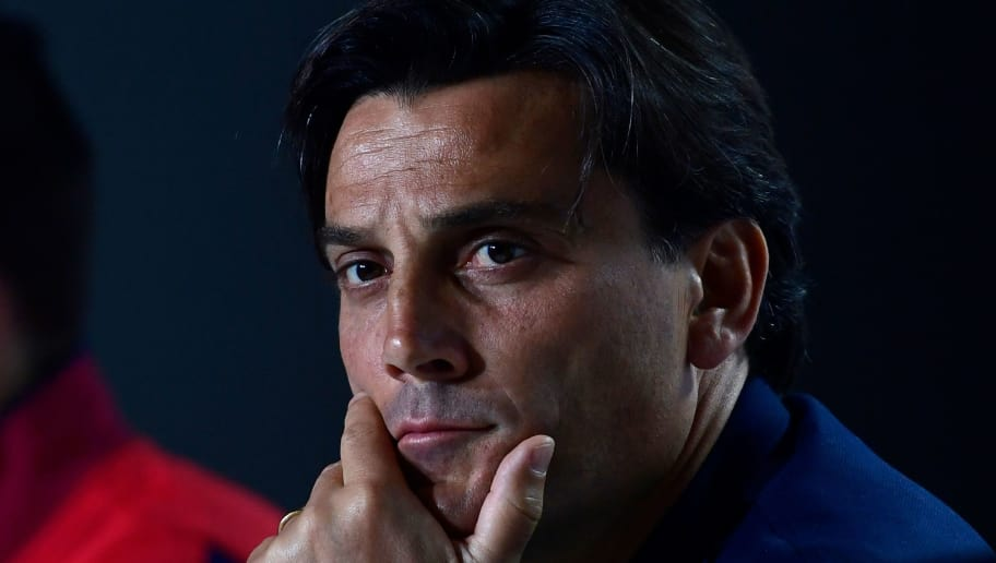 Sevilla's Italian coach Vincenzo Montella holds a press conference at the Wanda Metropolitano stadium in Madrid on April 20, 2018 on the eve the Spanish Copa del Rey (King's Cup) final football match Sevilla FC against FC Barcelona. (Photo by PIERRE-PHILIPPE MARCOU / AFP)        (Photo credit should read PIERRE-PHILIPPE MARCOU/AFP/Getty Images)