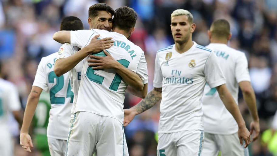 Real Madrid's Spanish forward Borja Mayoral (C) celebrates with teammates after scoring a goal during the Spanish League football match between Real Madrid and Leganes at the Santiago Bernabeu Stadium in Madrid on April 28, 2018. (Photo by JAVIER SORIANO / AFP)        (Photo credit should read JAVIER SORIANO/AFP/Getty Images)