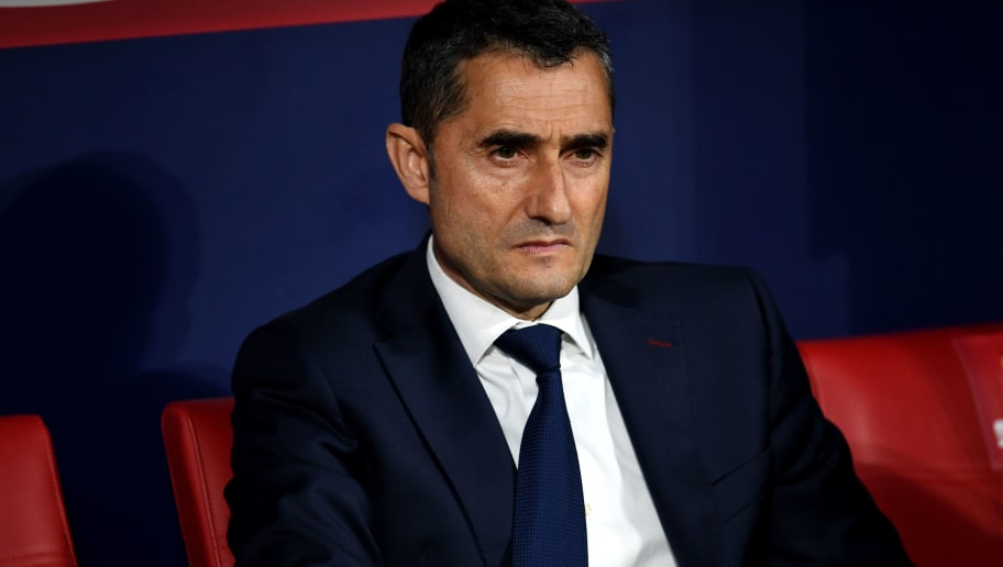 MADRID, SPAIN - APRIL 21: Barcelona coach Ernesto Valverde during the Spanish Copa del Rey Final between Barcelona and Sevilla at Wanda Metropolitano on April 21, 2018 in Madrid, Spain. (Photo by David Ramos/Getty Images)