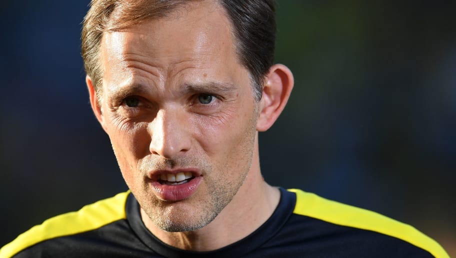 Dortmund's head coach Thomas Tuchel gestures prior to the German Cup (DFB Pokal) final football match Eintracht Frankfurt v BVB Borussia Dortmund at the Olympic stadium in Berlin on May 27, 2017. / AFP PHOTO / Christof STACHE / RESTRICTIONS: ACCORDING TO DFB RULES IMAGE SEQUENCES TO SIMULATE VIDEO IS NOT ALLOWED DURING MATCH TIME. MOBILE (MMS) USE IS NOT ALLOWED DURING AND FOR FURTHER TWO HOURS AFTER THE MATCH. == RESTRICTED TO EDITORIAL USE == FOR MORE INFORMATION CONTACT DFB DIRECTLY AT +49 69 67880   /         (Photo credit should read CHRISTOF STACHE/AFP/Getty Images)