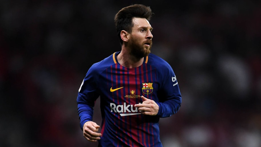 BARCELONA, SPAIN - APRIL 21:  Lionel Messi of FC Barcelona looks on during the Spanish Copa del Rey Final match between Barcelona and Sevilla at Wanda Metropolitano stadium on April 21, 2018 in Barcelona, Spain.  (Photo by David Ramos/Getty Images)