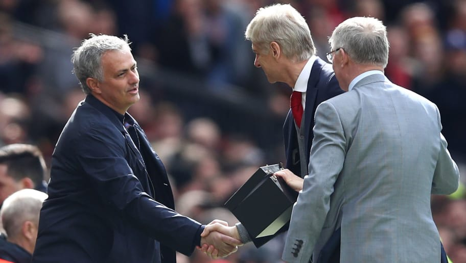 MANCHESTER, ENGLAND - APRIL 29:  Sir Alex Ferguson and Jose Mourinho, Manager of Manchester United greet Arsene Wenger, Manager of Arsenal pitchside prior to the Premier League match between Manchester United and Arsenal at Old Trafford on April 29, 2018 in Manchester, England.  (Photo by Clive Brunskill/Getty Images)