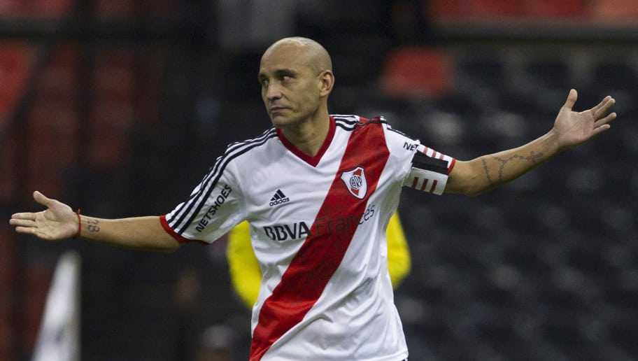 MEXICO CITY, MEXICO - MAY 31:  Cristian Ledesma of River Plate celebrates after shooting the penalty kick of victory during a friendly match between Boca Juniors and River Plate at Azteca Stadium on May 31, 2014 in Mexico City, Mexico. (Photo by Misael Montano/LatinContent/Getty Images)