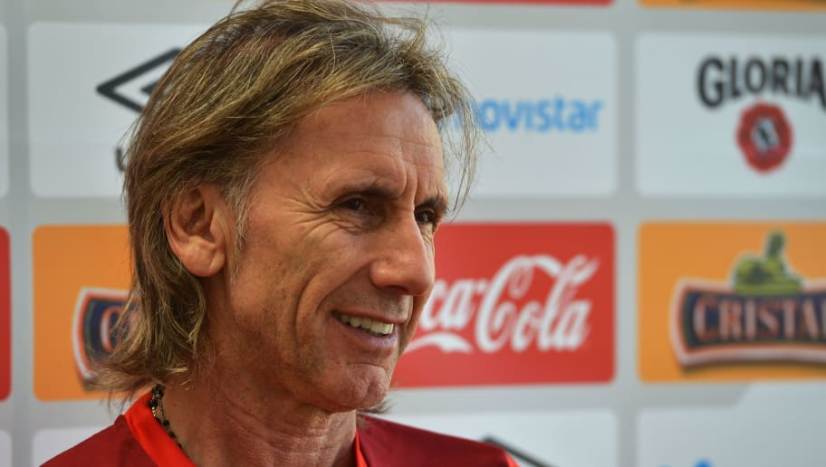 The coach of the Peruvian national football team, Argentine Ricardo Gareca, speaks during an interview with AFP at the team's headquarters in Lima, on March 9, 2018. Peru will play France, Denmark and Australia in Group C at the Russia 2018 World Cup. / AFP PHOTO / Cris BOURONCLE        (Photo credit should read CRIS BOURONCLE/AFP/Getty Images)