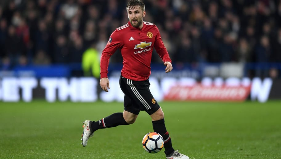 HUDDERSFIELD, ENGLAND - FEBRUARY 17:  Luke Shaw of Manchester United during the The Emirates FA Cup Fifth Round match between Huddersfield Town and Manchester United on February 17, 2018 in Huddersfield, United Kingdom.  (Photo by Gareth Copley/Getty Images)
