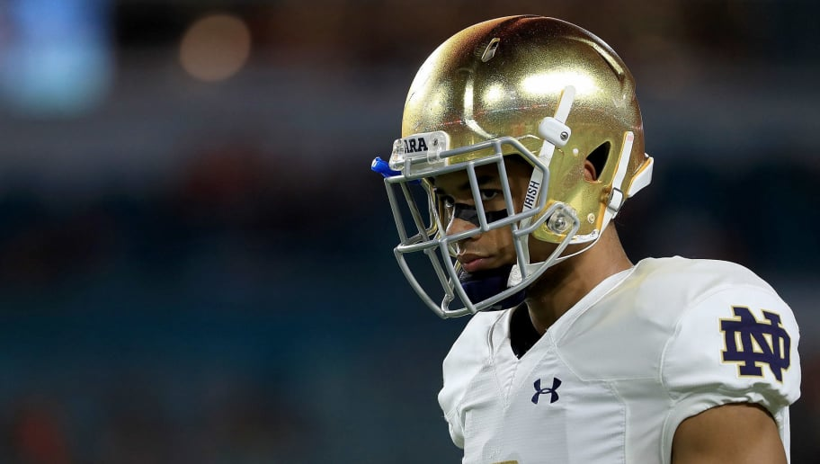 MIAMI GARDENS, FL - NOVEMBER 11:  Equanimeous St. Brown #6 of the Notre Dame Fighting Irish warms up during a game against the Miami Hurricanes at Hard Rock Stadium on November 11, 2017 in Miami Gardens, Florida.  (Photo by Mike Ehrmann/Getty Images)